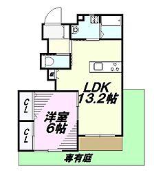 JR五日市線 秋川駅 徒歩13分の賃貸アパート 1階1LDKの間取り