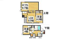 福岡県福岡市早良区賀茂2丁目の賃貸アパートの間取り