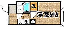 阪急宝塚本線 山本駅 徒歩24分の賃貸マンション 3階ワンルームの間取り