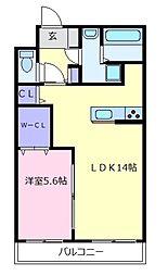 大阪府羽曳野市高鷲10の賃貸アパートの間取り