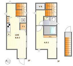 西武新宿線 鷺ノ宮駅 徒歩8分の賃貸アパート 2階1LDKの間取り