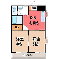 栃木県小山市城北3丁目の賃貸マンションの間取り