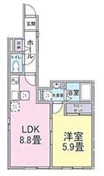 リヴァージュメゾン登戸 1階1LDKの間取り