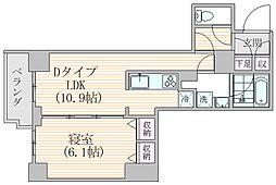 エスジーコート元浅草 8階1LDKの間取り