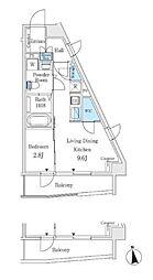 東京メトロ丸ノ内線 中野坂上駅 徒歩3分の賃貸マンション 4階1LDKの間取り