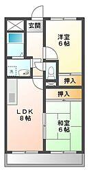 愛知県日進市藤塚6丁目の賃貸アパートの間取り