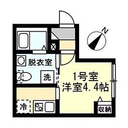 ベイルーム横浜生麦 2階1Kの間取り