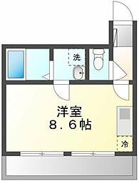 JR中央線 国立駅 徒歩10分の賃貸マンション 1階ワンルームの間取り