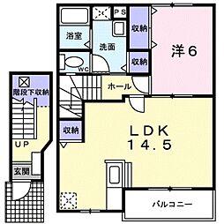 愛知県田原市大久保町河原の賃貸アパートの間取り
