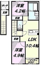 京王高尾線 狭間駅 徒歩4分の賃貸アパート 2階2LDKの間取り