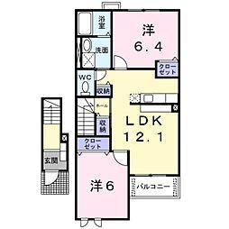 JR京浜東北・根岸線 大宮駅 バス20分 庚申塚下車 徒歩2分の賃貸アパート 2階2LDKの間取り
