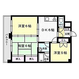 福岡県福岡市早良区弥生2丁目の賃貸マンションの間取り