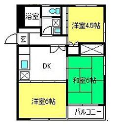 埼玉県さいたま市大宮区堀の内町2丁目の賃貸マンションの間取り