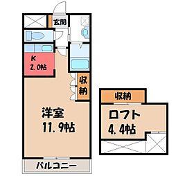 栃木県宇都宮市インターパーク2丁目の賃貸アパートの間取り