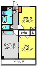 神奈川県横浜市港南区下永谷5丁目の賃貸マンションの間取り