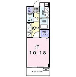 南海高野線 金剛駅 徒歩11分の賃貸マンション 3階1Kの間取り