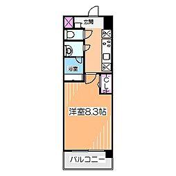 Osaka Metro御堂筋線 なかもず駅 徒歩4分の賃貸マンション 3階1Kの間取り