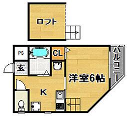 阪急京都本線 上新庄駅 徒歩11分の賃貸アパート 3階1Kの間取り