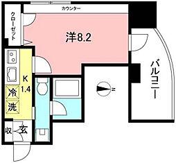 RIZ Chofu 9階1Kの間取り