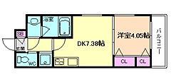 阪急宝塚本線 蛍池駅 徒歩7分の賃貸アパート 1階1DKの間取り