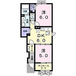 新潟県見附市本所1丁目の賃貸アパートの間取り