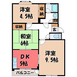 栃木県宇都宮市桜5の賃貸マンションの間取り