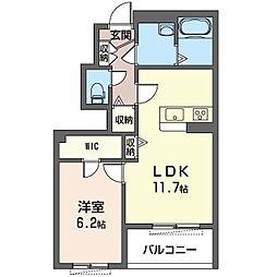 コンフォール新川崎 1階1LDKの間取り