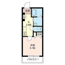麻生区古沢ホテルライクマンション(仮) 2階1Kの間取り