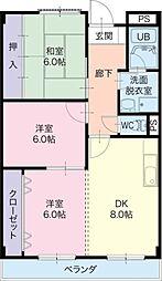 愛知県一宮市西大海道の賃貸マンションの間取り