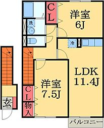 千葉県千葉市緑区あすみが丘東5丁目の賃貸アパートの間取り