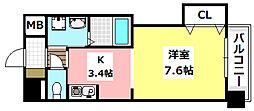 JR東海道・山陽本線 岸辺駅 徒歩3分の賃貸マンション 4階1Kの間取り