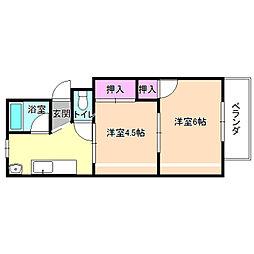 コウヅハイツ[3階]の間取り