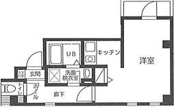 東京メトロ銀座線 浅草駅 徒歩15分の賃貸マンション 3階ワンルームの間取り