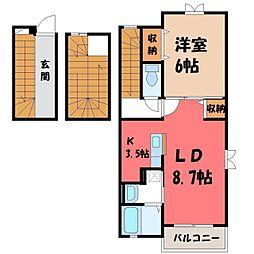 栃木県小山市城北4丁目の賃貸アパートの間取り