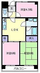 大阪府松原市田井城5丁目の賃貸マンションの間取り