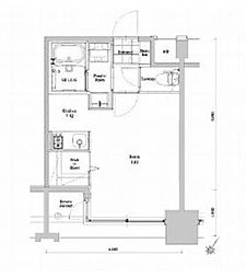 福岡市地下鉄空港線 中洲川端駅 徒歩12分の賃貸マンション 11階1Kの間取り