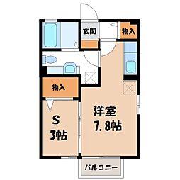 栃木県宇都宮市一条2丁目の賃貸アパートの間取り