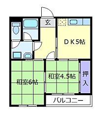 シャンポール松原[3階]の間取り