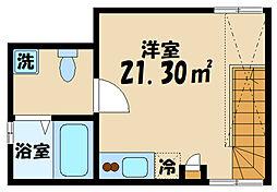ピア仙川の森 2階ワンルームの間取り