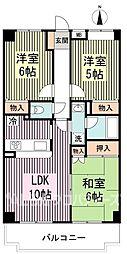 都営大江戸線 練馬春日町駅 徒歩13分の賃貸マンション 4階3LDKの間取り