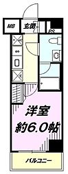JR中央線 八王子駅 徒歩7分の賃貸マンション 2階1Kの間取り