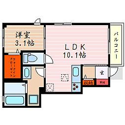 滋賀県彦根市中央町の賃貸アパートの間取り