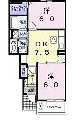 岡山県倉敷市北畝2の賃貸アパートの間取り