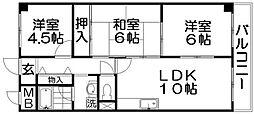 香里プラザII[3階]の間取り