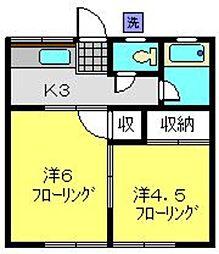 陽風ハイム[102号室]の間取り