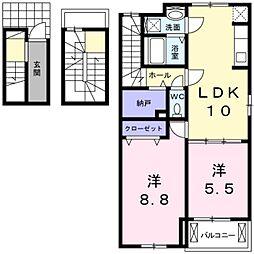 山桜 3階2LDKの間取り