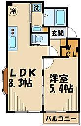 京王線 府中駅 徒歩21分の賃貸アパート 2階1LDKの間取り