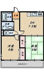 シャトー中三[4階]の間取り