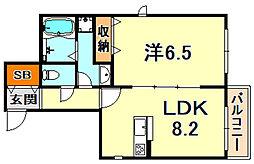 (仮称)灘区船寺通1丁目ヘーベルメゾン 2階1LDKの間取り