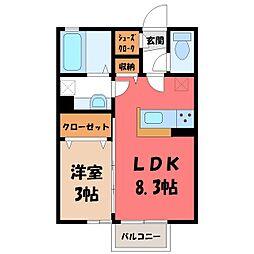 JR東北本線 栗橋駅 3.9kmの賃貸アパート 2階1LDKの間取り